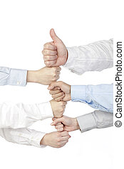 group of hand with fists bumping
