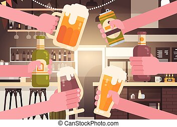 Group Of Hands Clinking Beer People In Pub Or Bar Restaurant Cheering Party Celebration Festival Concept
