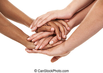 group of hands holding together on white isolated background