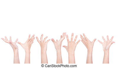 Group of Hands reaching for something isolated on white...