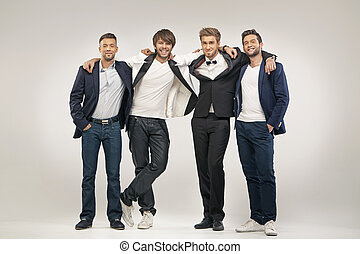 Group of handsome and elegant guys - Group of handsome and ...