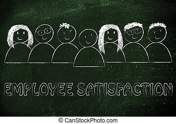 group of happy and diverse people, employee satisfaction -...
