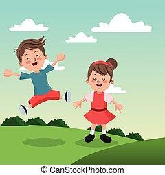 Group of happy boys and girls cartoon kids