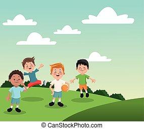 Group of happy boys cartoon kids