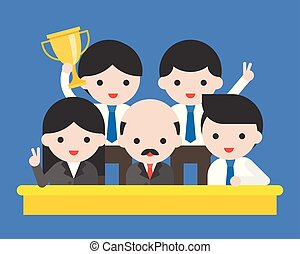 Group of happy business people, CEO and his team winning award, winner business concept