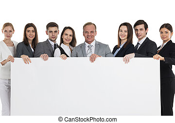 Business people holding big billboard