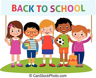 Group of happy cheerful children with backpacks holding a banner back to school Stock vector illustration.eps