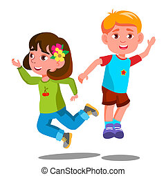 Group Of Happy Children Are Jumping Together Vector. Isolated Illustration