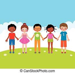 Group of happy children boys and gi - Stock vector cartoon...