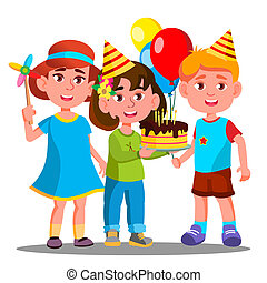 Group Of Happy Children Celebrating Birthday Together Vector. Isolated Illustration