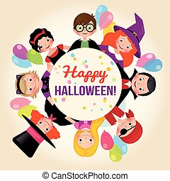 Group of happy children in a festive Halloween party. Poster or invitation to celebrate Halloween. Stock Vector Illustration