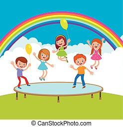Group of happy children jumping on the trampoline outdoor areas