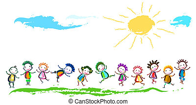happy children - group of happy children playing