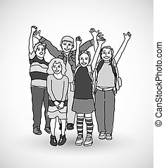 Group of happy children shadow gray scale.