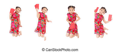 Group of happy chinese new year jump and smile ,asian girl holding red envelope