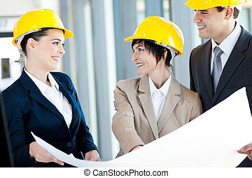 happy construction businesspeople
