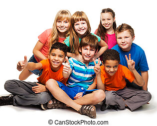 Group of happy diverse looking boys and girs