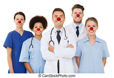 group of happy doctors at hospital