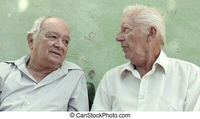 Group of happy elderly men laughing - Active retirement, ...