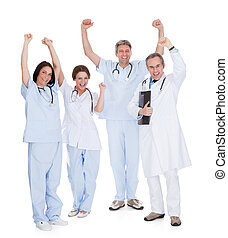 Group Of Happy Excited Doctors