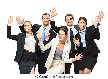 Group of happy executives