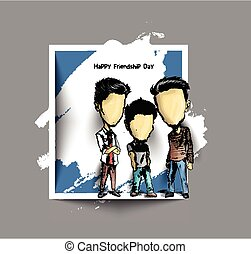 Group of happy friends enjoying Friendship Day. Cartoon Hand Drawn Sketch Vector Background.