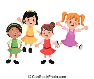 Group of happy girls cartoon kids