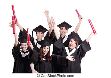 group of happy graduates student