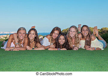 group of happy healthy teen girls