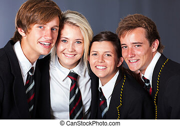 group of happy high school students
