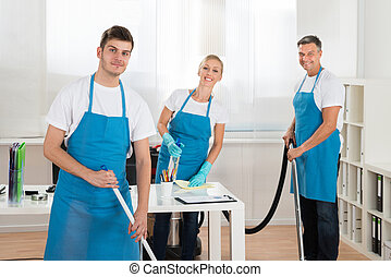 Janitors Cleaning Office