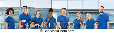 Group Of Happy Janitors