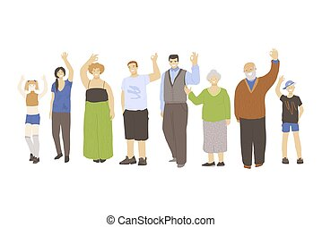 Group of happy joyfull different generation people, waving hands and showing OK sign. Kids, young man and woman, old people vector illustration, isolated on white background