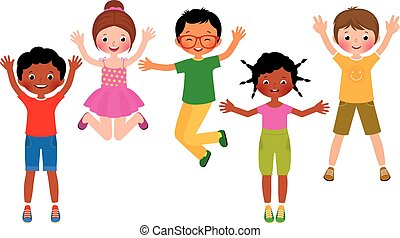Group of happy jumping children