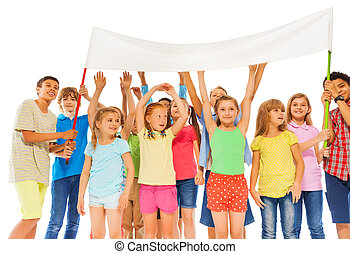 Group of happy kids hold empty white banner