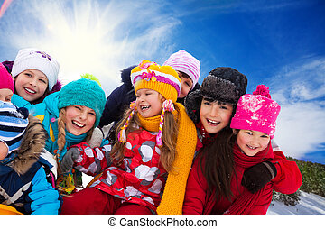 Group of happy kids outside
