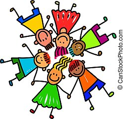 Group of Happy Kids - Whimsical cartoon illustration of a...
