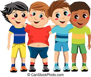 Group of happy multicultural kids or children standing and hugging isolated
