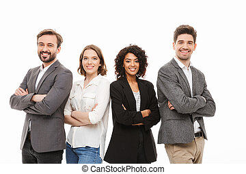 Group of happy multiracial business people