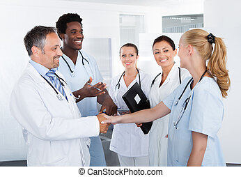 Group Of Happy Multiracial Doctors - Portrait Of Successful...
