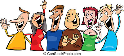 Group of happy people - Cartoon illustration of group of ...