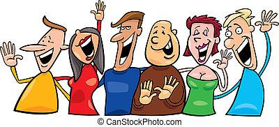 Cartoon illustration of group of happy people