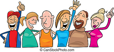 Group of happy people - Cartoon illustration of group of...