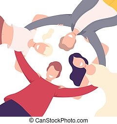 Group of Happy People Embracing Together in Circle, View from the Bottom Flat Vector Illustration