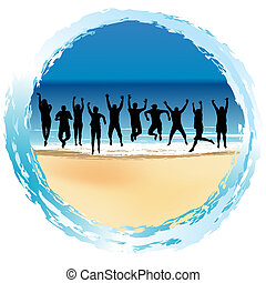 Group of happy people jumping at the seaside