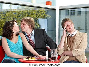 Group of happy people talking