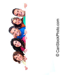 Group of happy people with banner. Isolated over white...