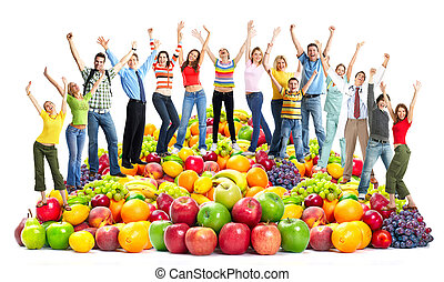 Group of happy people with fruits. Isolated on white...
