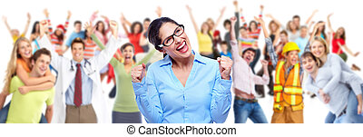 Group of happy people workers. Isolated over white...
