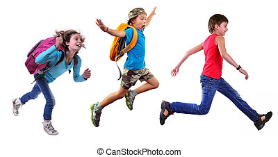 group of happy school children or travelers running together...